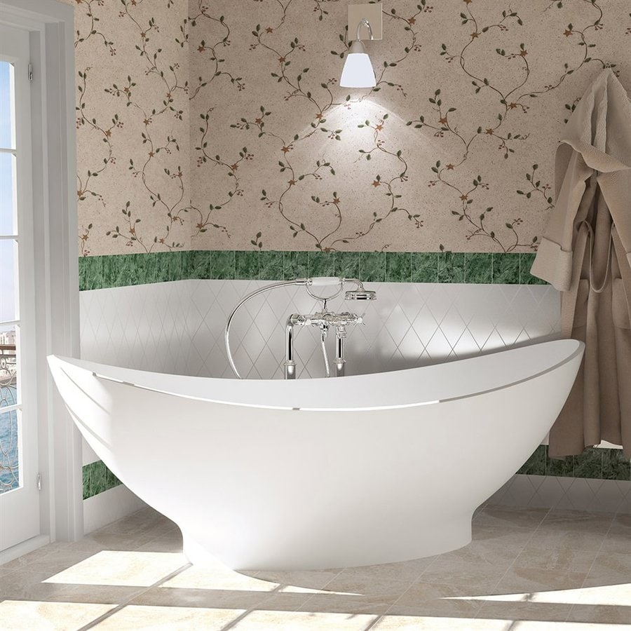 Aquatica Purescape Aquastone Matte White Natural Stone Composite Oval Freestanding Bathtub with Center Drain (Common: 33-in x 77-in; Actual: 28.35-in x 32.7-in x 76.75-in)