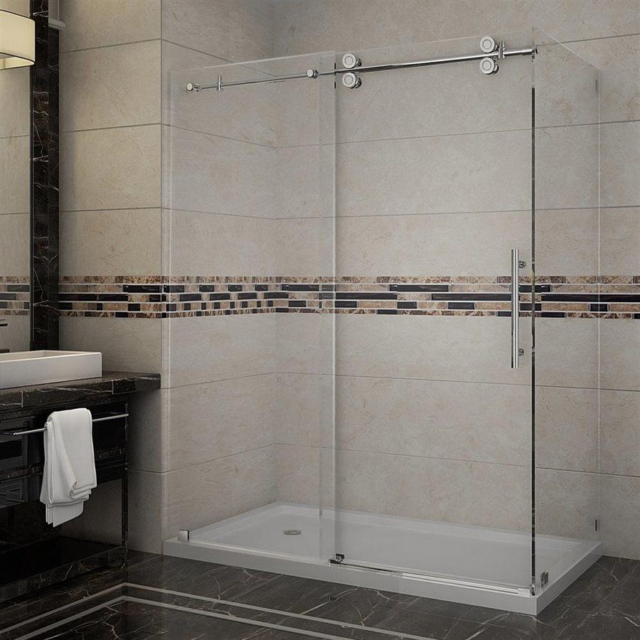 Aston Langham-in to 60-in Frameless Chrome Sliding Shower Door