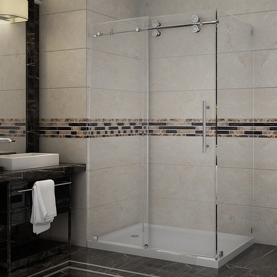 Aston Langham-in to 48-in Frameless Stainless steel Sliding Shower Door
