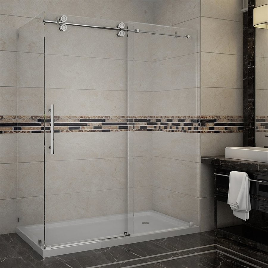 Aston Langham-in to 60-in Frameless Stainless steel Sliding Shower Door