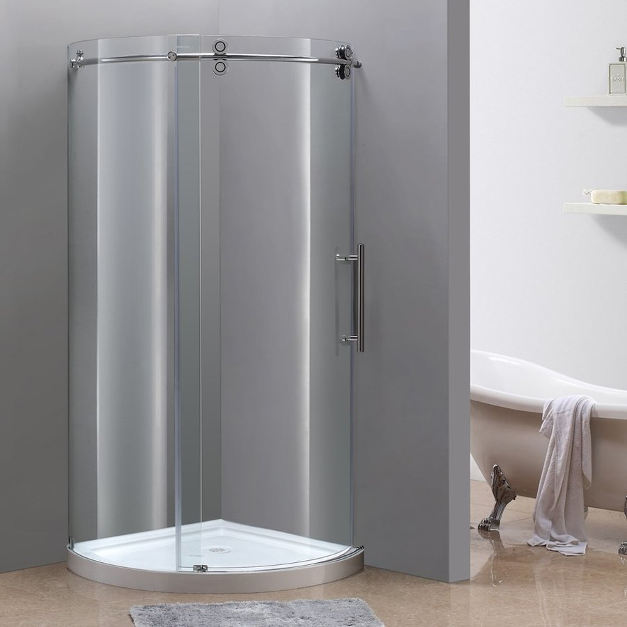 Aston Orbitus 19.25-in to 40-in Frameless Chrome Sliding Shower Door