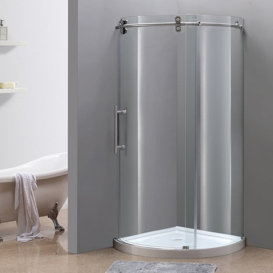 Aston 15.25-in to 36-in W x 75-in H Stainless Steel Sliding Shower Door
