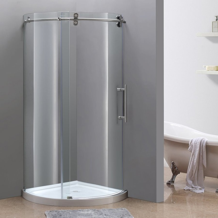 Aston Orbitus 15.25-in to 36-in Frameless Stainless steel Sliding Shower Door