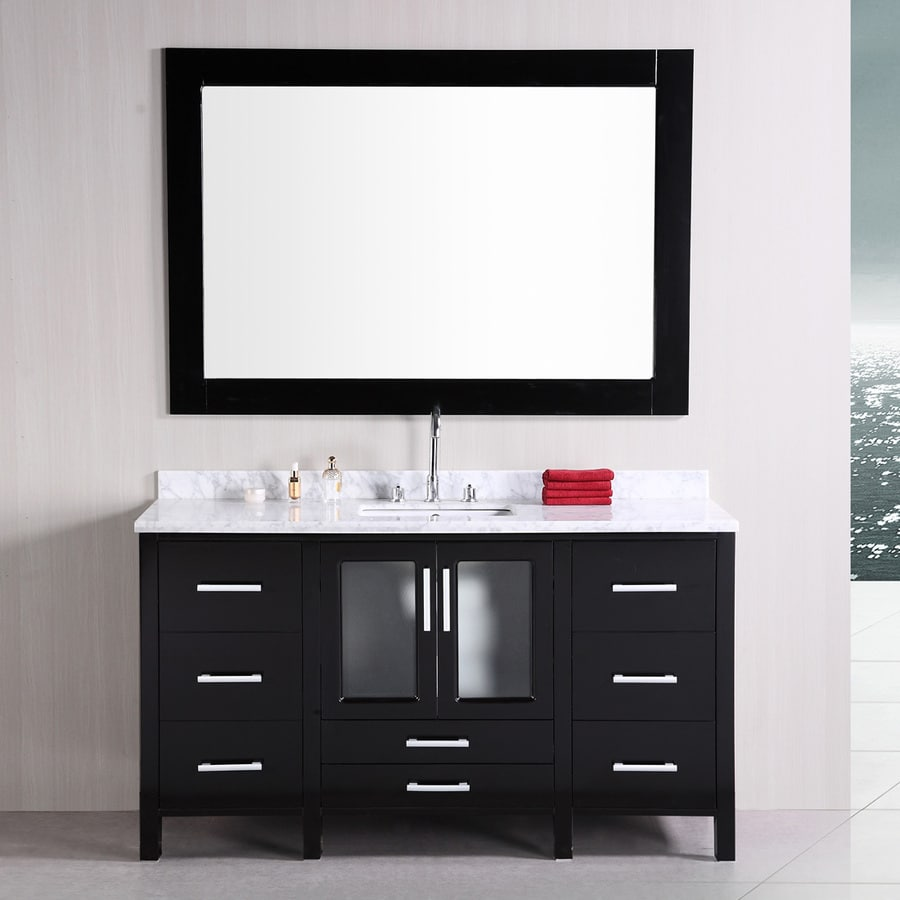Design Element Stanton Espresso 60-in Undermount Single Sink Oak Bathroom Vanity with Natural Marble Top (Mirror Included)