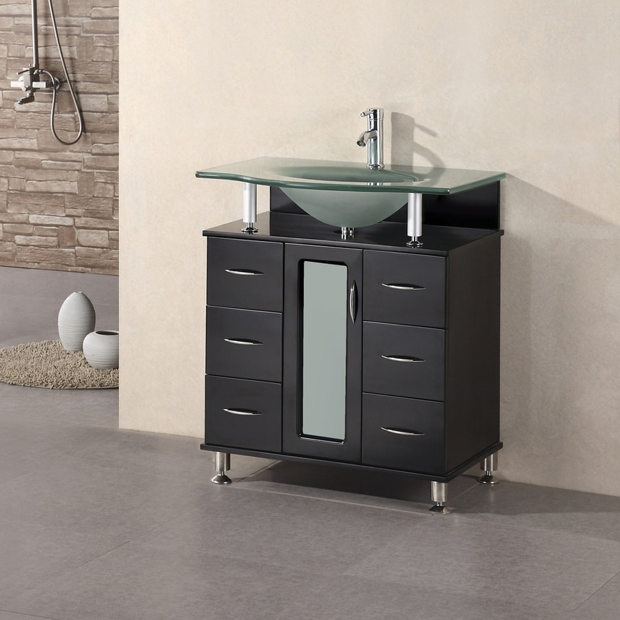 Design Element Huntington Espresso Integral Single Sink Bathroom Vanity  With Tempered Glass And Glass Top (