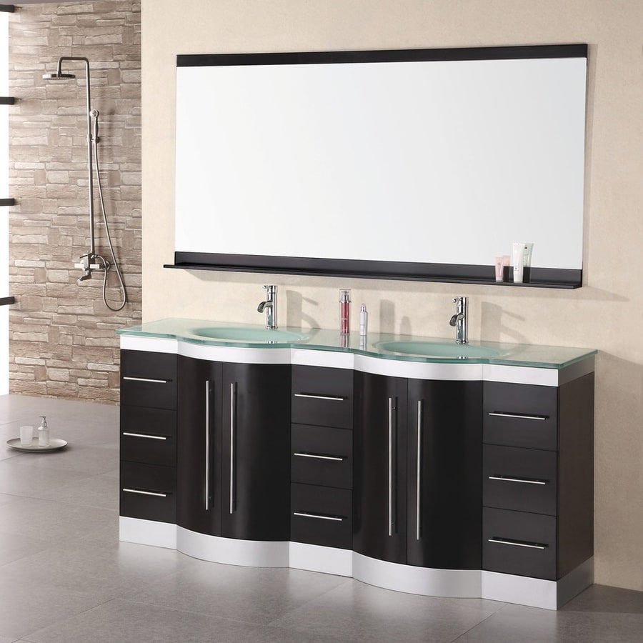 Design Element Jasper Espresso 72-in Integral Double Sink Oak Bathroom Vanity with Tempered Glass and Glass Top (Mirror Included)