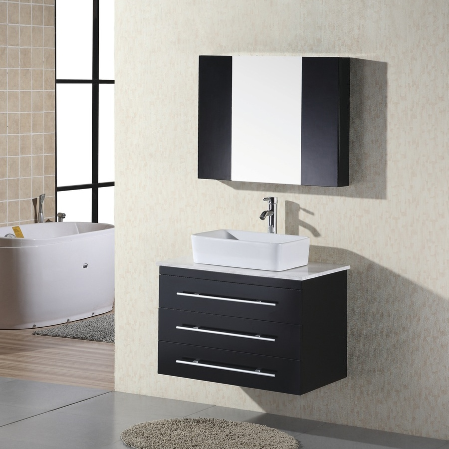Shop Design Element Elton Espresso Vessel Single Sink Bathroom Vanity With Natural Marble Top