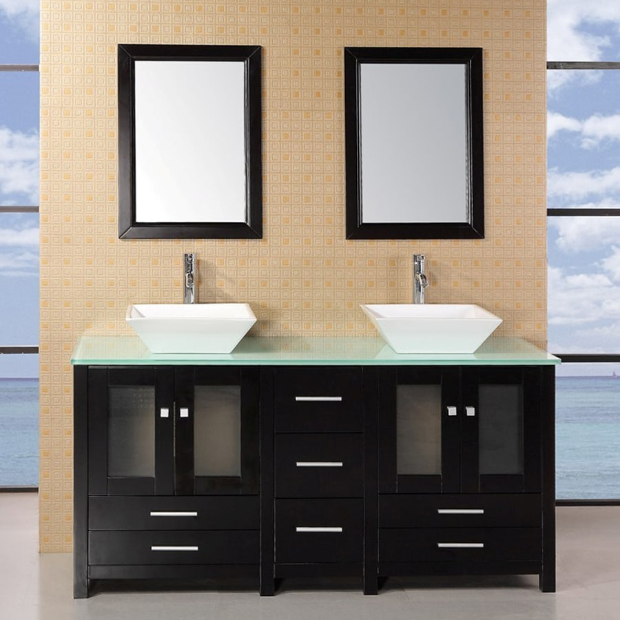 Design Element Jacoby Espresso 61-in Vessel Double Sink Oak Bathroom Vanity with Glass Top (Mirror Included)