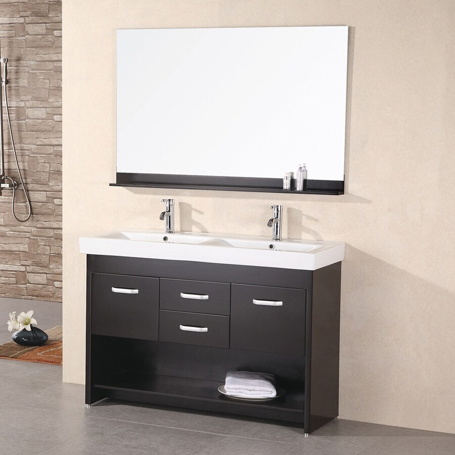 Shop design element citrus espresso integrated double sink bathroom vanity with solid surface Stores to buy bathroom vanities