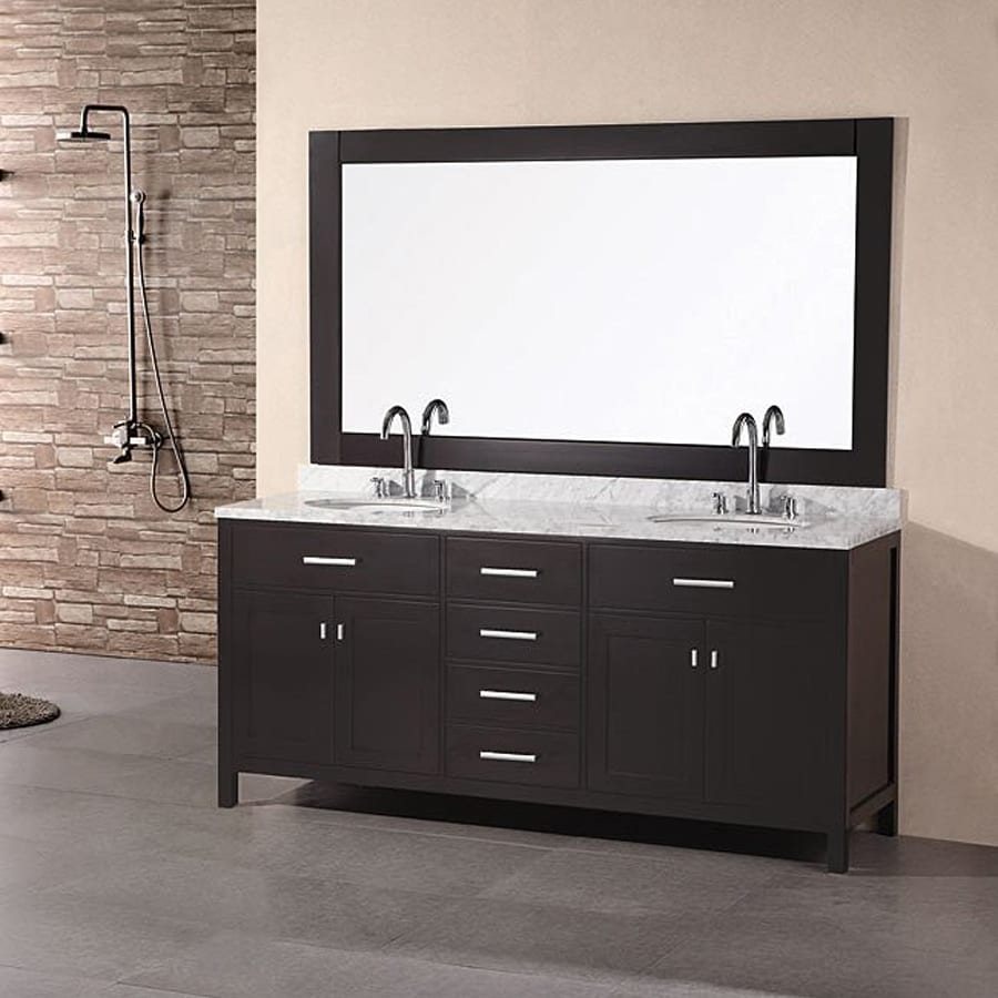 Design Element London Espresso (Common: 72-in x 22-in) Undermount Double Sink Oak Bathroom Vanity with Natural Marble Top (Mirror Included) (Actual: 72-in x 22-in)