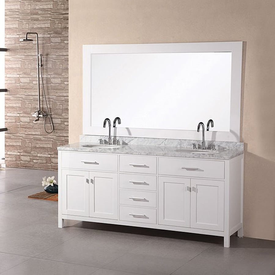 Shop design element london pearl white undermount double sink bathroom vanity with natural Marble top bathroom vanities