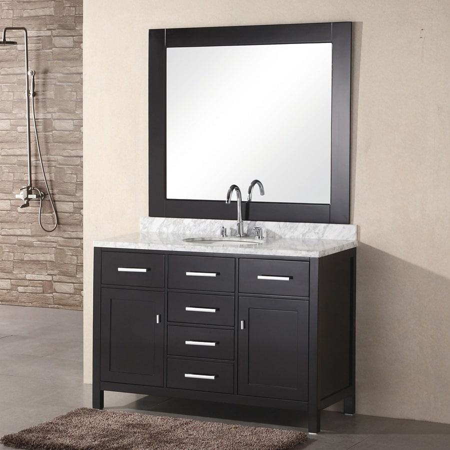 Design Element London Espresso (Common: 48-in x 22-in) Undermount Single Sink Oak Bathroom Vanity with Natural Marble Top (Mirror Included) (Actual: 48-in x 22-in)