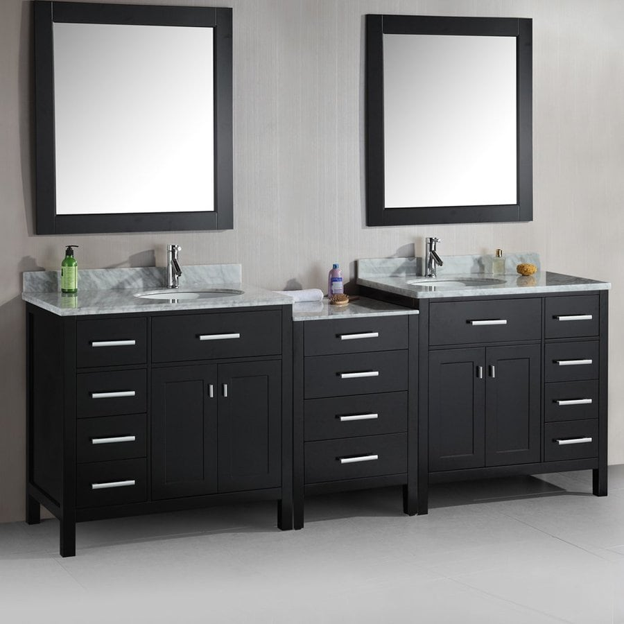 Design Element London Espresso 92-in Undermount Double Sink Oak Bathroom Vanity with Natural Marble Top (Mirror Included)