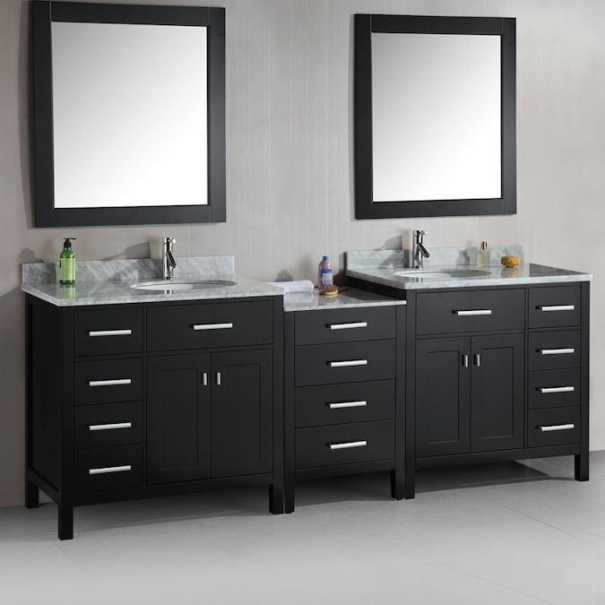 Design Element London Espresso Double Sink Vanity With White Natural Marble Top Common 92 In X 22 In In The Bathroom Vanities With Tops Department At Lowes Com