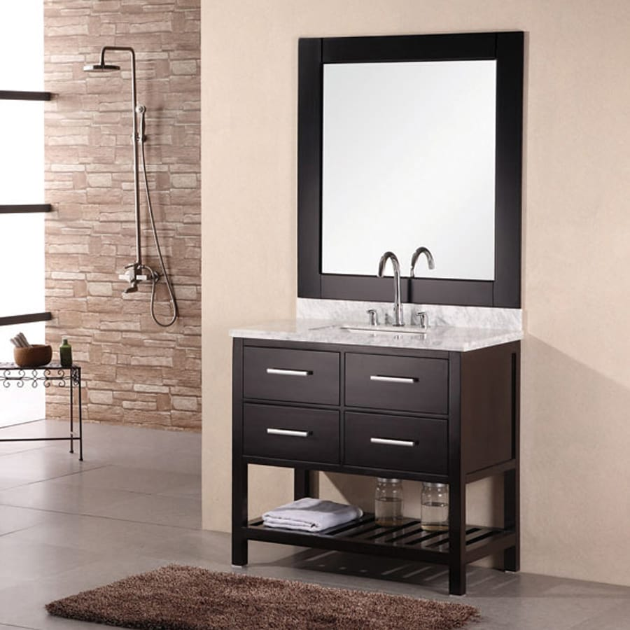 Shop Design Element London Espresso Undermount Single Sink Bathroom Vanity With Natural Marble