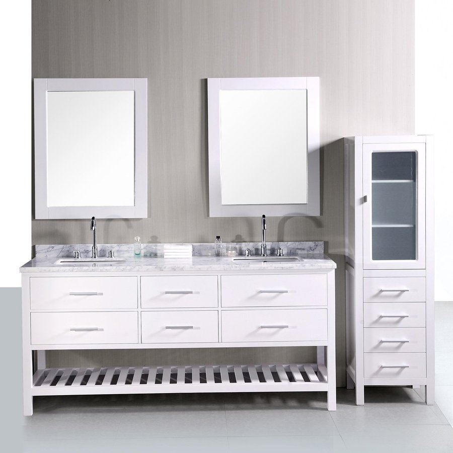 Design Element London Pearl White Undermount Double Sink Bathroom Vanity  With Natural Marble Top (Common