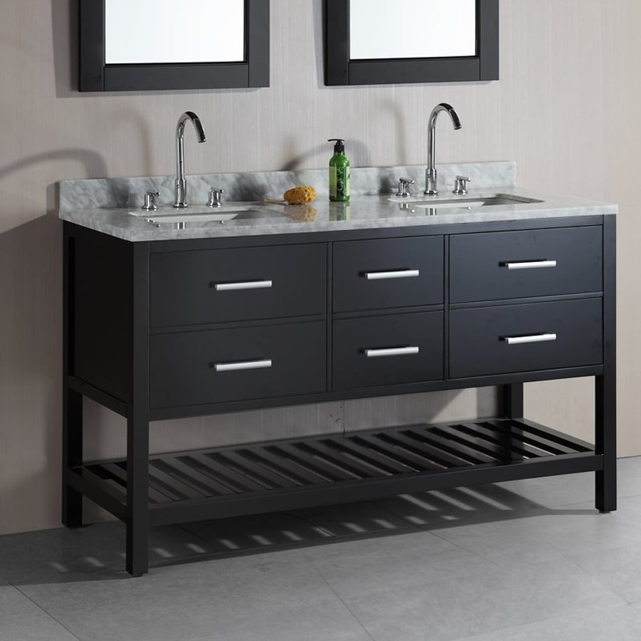 Design Element London Espresso Undermount Double Sink Bathroom Vanity with Natural Marble Top (Common: 60-in x 22-in; Actual: 60-in x 22-in)