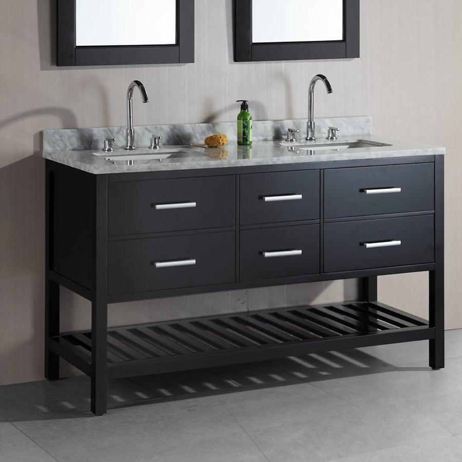 Shop Design Element London Espresso Undermount Double Sink Bathroom Vanity With Natural Marble