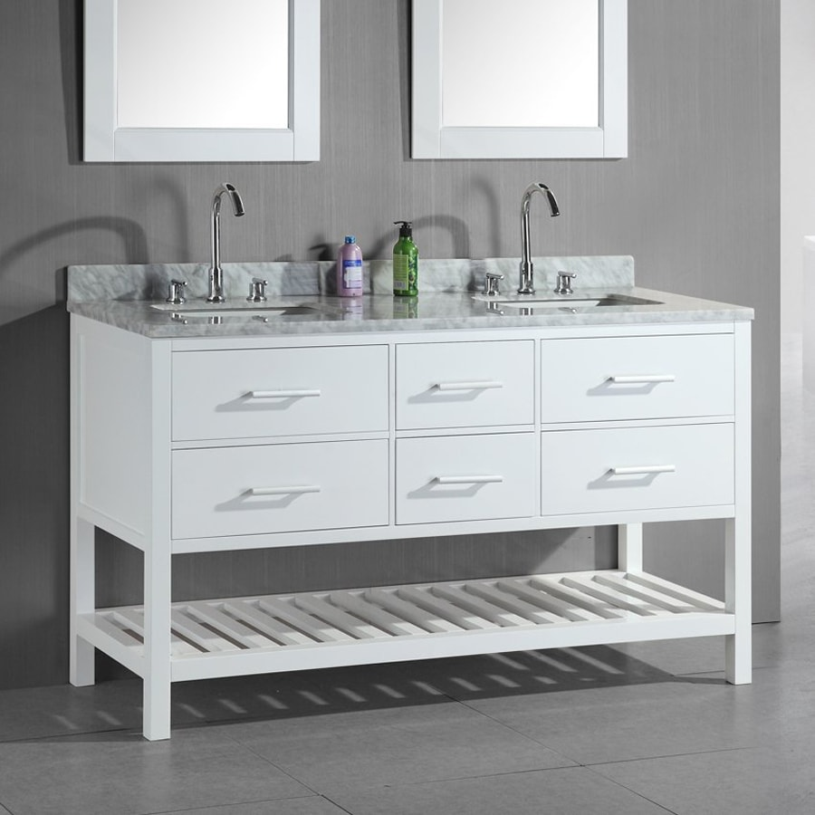 Design Element London White Double Sink Vanity With Natural Marble Top Common 60