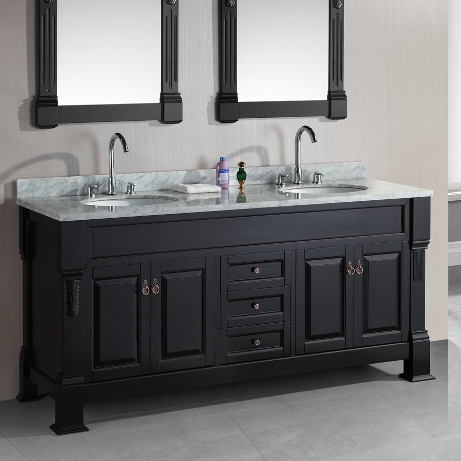 Shop Design Element Marcos Espresso Undermount Double Sink Bathroom Vanity With Natural Marble