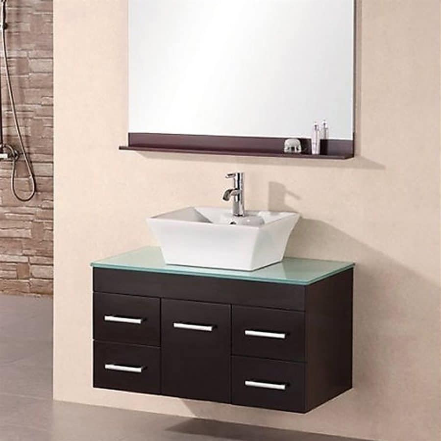 Design Element Madrid Espresso Single Vessel Sink Bathroom Vanity with Tempered Glass and Glass Top (Common: 36-in x 20-in; Actual: 36-in x 19.75-in)