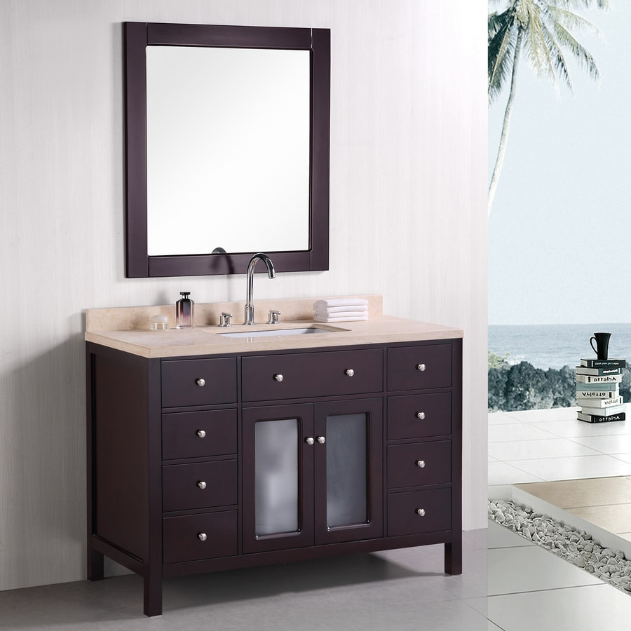 Design Element Venetian Espresso Undermount Single Sink Bathroom Vanity with Natural Marble Top (Common: 48-in x 22-in; Actual: 48-in x 22-in)