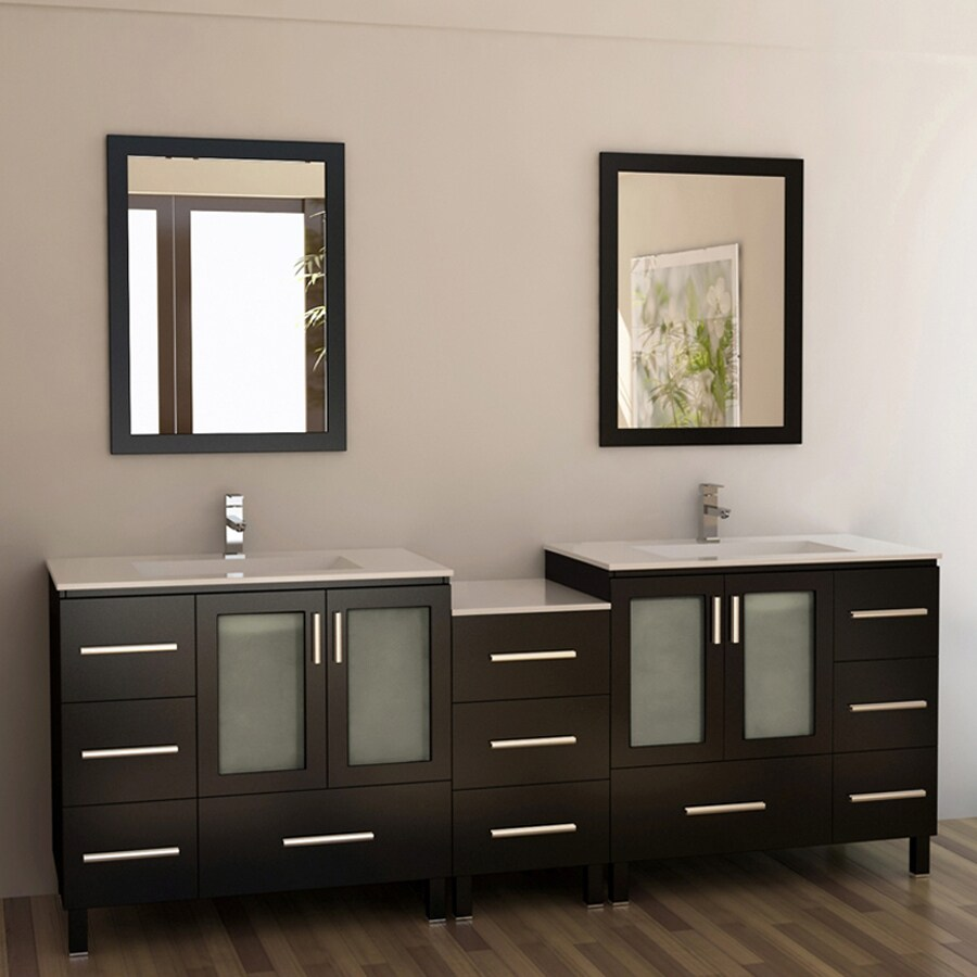 Design Element Galatians Espresso Integrated Double Sink Bathroom Vanity with Solid Surface Top (Common: 88-in x 18-in; Actual: 88-in x 18.25-in)