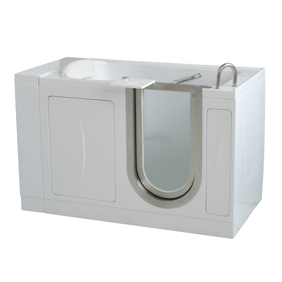 Shop Ella 39 S Bubbles High Gloss White Acrylic Rectangular Walk In Bathtub