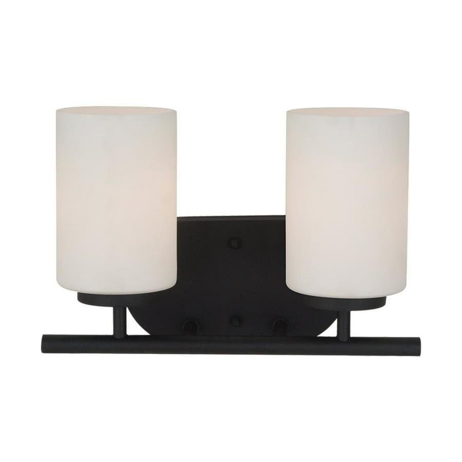 Sea Gull Lighting Oslo 2-Light Blacksmith Cylinder Vanity Light