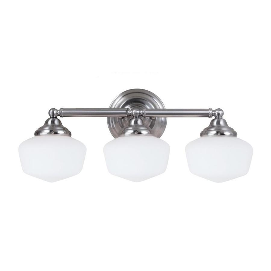 Sea Gull Lighting 44237 962 3 Light Brushed Nickel Bathroom Vanity Wall Fixture: Shop Sea Gull Lighting Academy 3-Light 23.25-in Brushed Nickel Schoolhouse Vanity Light At Lowes.com