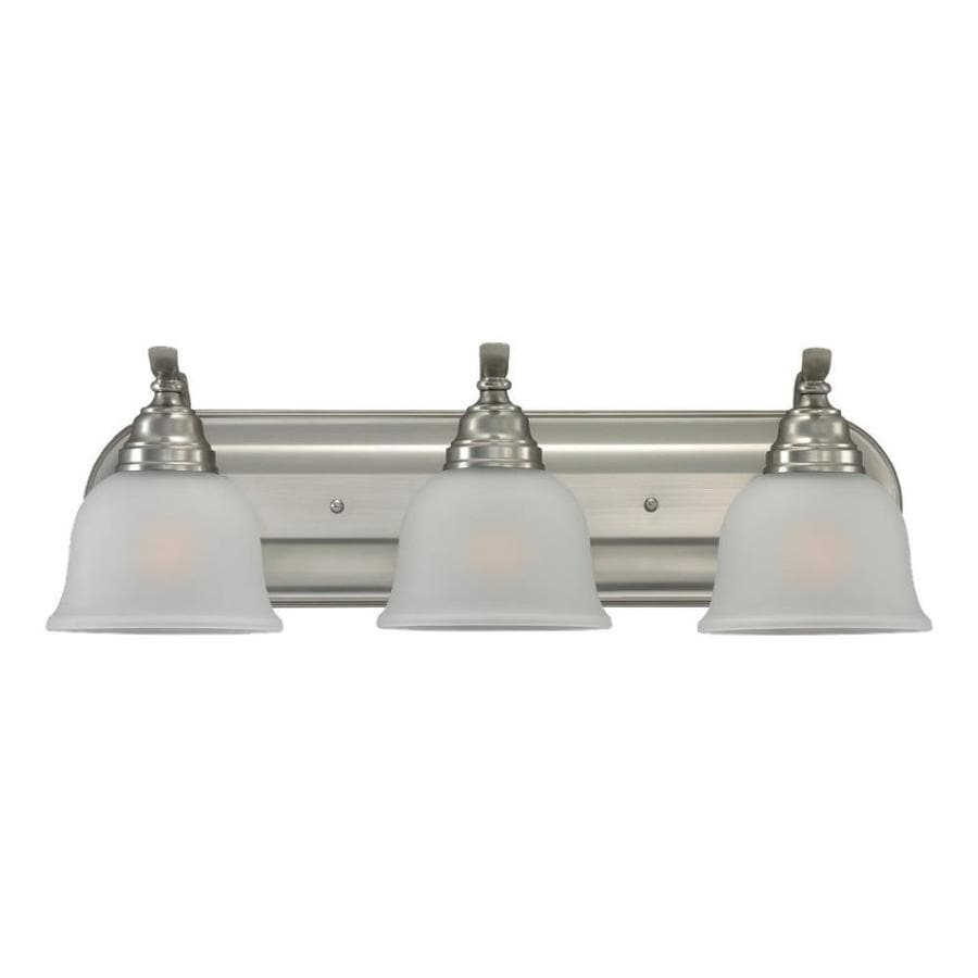 Sea Gull Lighting 44237 962 3 Light Brushed Nickel Bathroom Vanity Wall Fixture: Shop Sea Gull Lighting Wheaton 3-Light 23.75-in Brushed Nickel Bell Vanity Light At Lowes.com