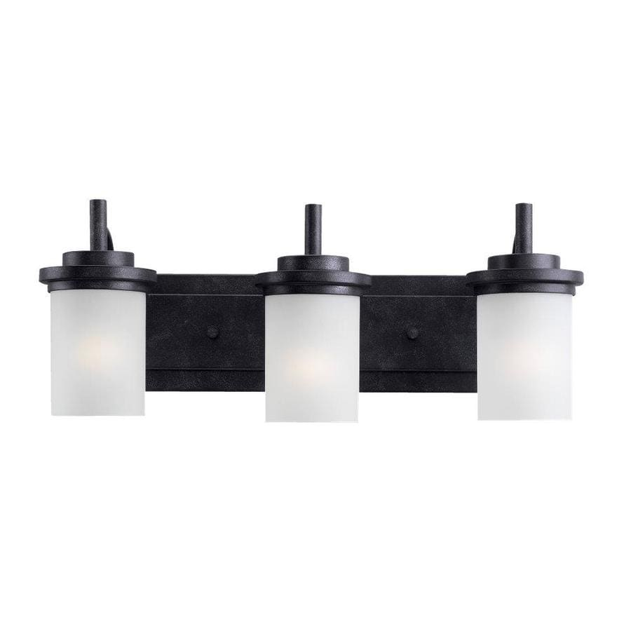 black bathroom light shop sea gull lighting winnetka 3 light 23 in blacksmith 12093
