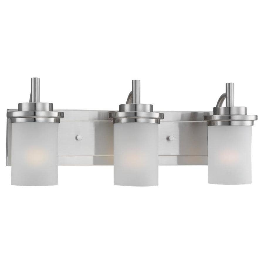 Shop sea gull lighting winnetka 3 light brushed nickel for Bathroom light fixtures lowes