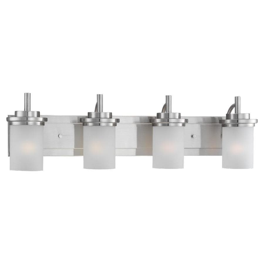 Sea Gull Lighting 44237 962 3 Light Brushed Nickel Bathroom Vanity Wall Fixture: Shop Sea Gull Lighting Winnetka 4-Light 32-in Brushed Nickel Cylinder Vanity Light At Lowes.com