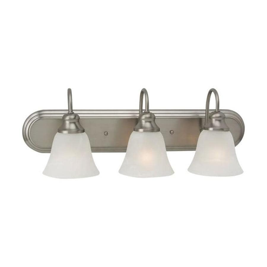 Sea Gull Lighting 44237 962 3 Light Brushed Nickel Bathroom Vanity Wall Fixture: Shop Sea Gull Lighting Windgate 3-Light 24.25-in Brushed Nickel Bell Vanity Light At Lowes.com