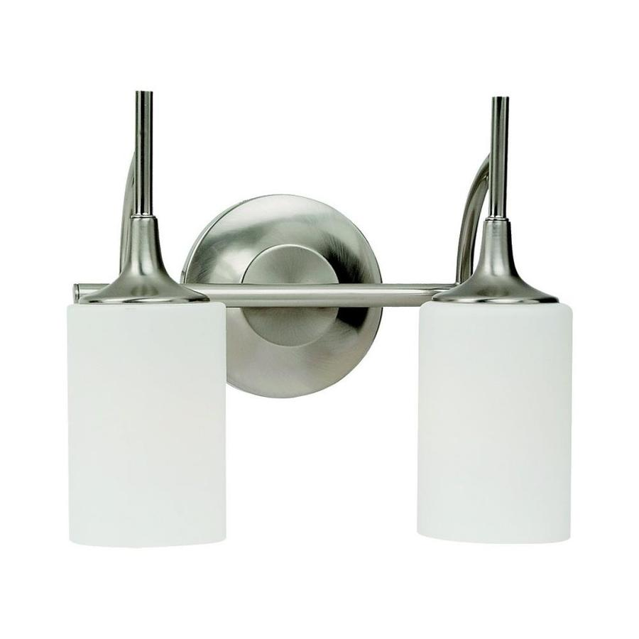 Sea Gull Lighting Stirling 2-Light 11.25-in Brushed nickel Cylinder Vanity Light