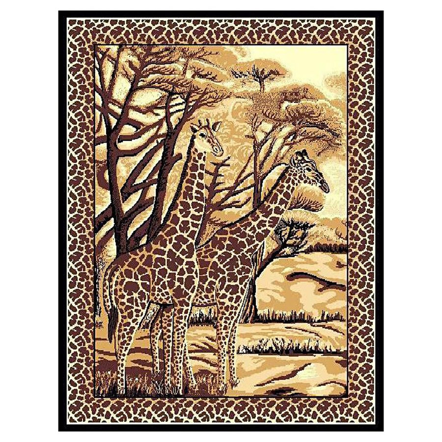 DonnieAnn African Adventure Brown Rectangular Indoor Machine-Made Safari Area Rug (Common: 5 x 7; Actual: 62-in W x 84-in L)