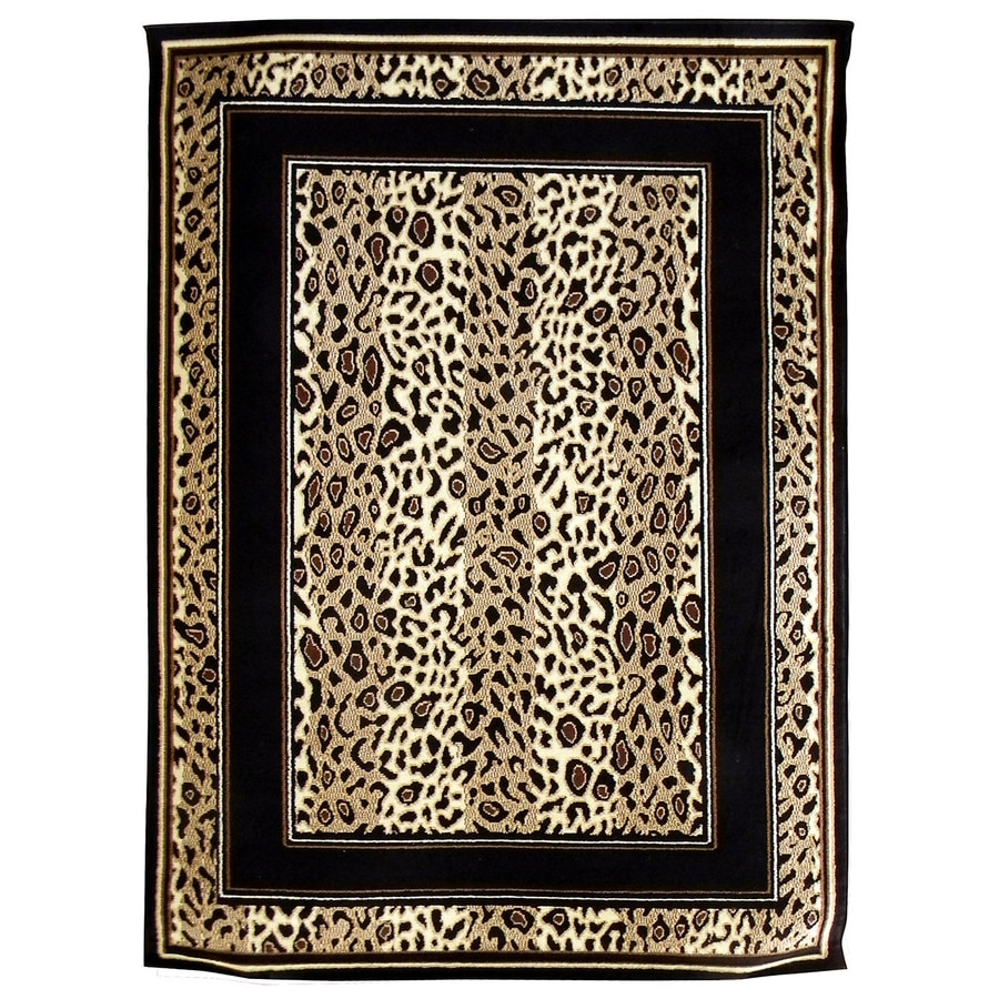 DonnieAnn African Adventure Brown Rectangular Indoor Machine-Made Animals Area Rug (Common: 5 x 7; Actual: 5.16-ft W x 7-ft L)