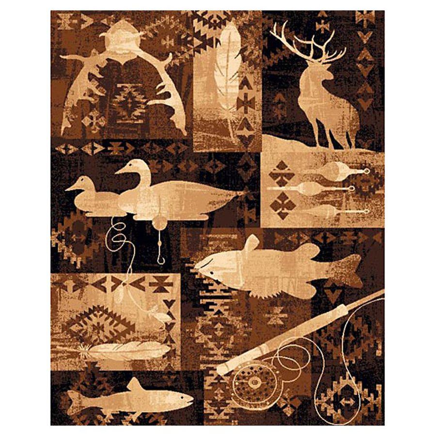 DonnieAnn Lodge Brown Rectangular Indoor Machine-Made Area Rug (Common: 5 x 7; Actual: 62-in W x 86-in L)