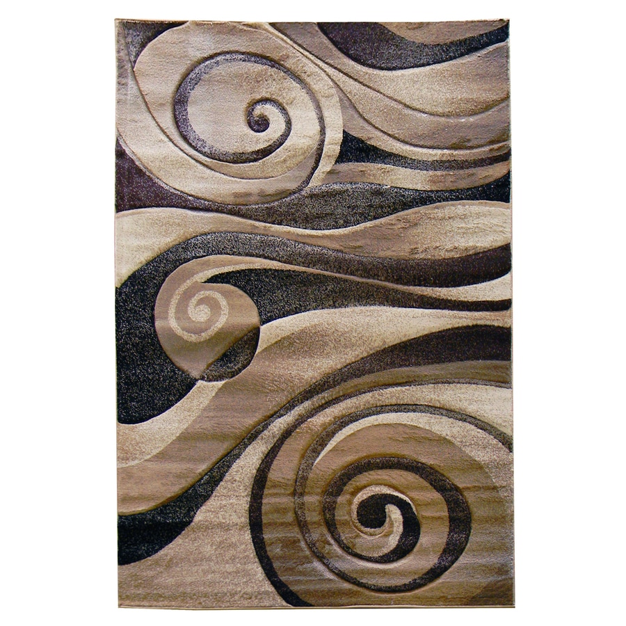 DonnieAnn Sculpture Champagne Rectangular Indoor Machine-Made Area Rug (Common: 5 x 7; Actual: 5.16-ft W x 7-ft L)