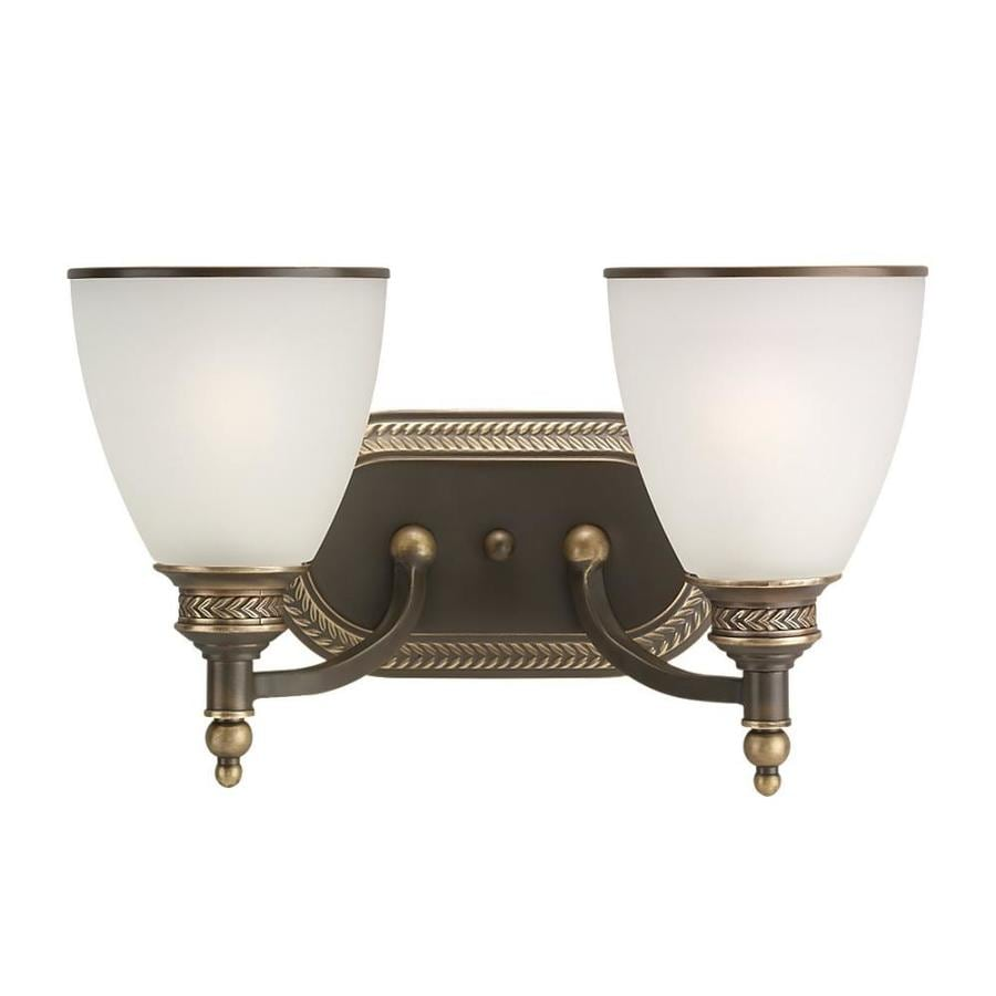 Sea Gull Lighting Laurel Leaf 2-Light Estate Bronze Bell Vanity Light