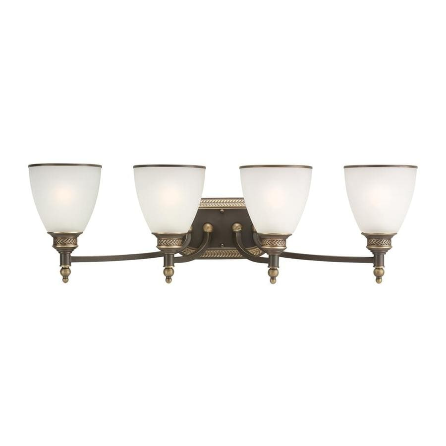 Sea Gull Lighting Laurel Leaf 4-Light Estate Bronze Bell Vanity Light