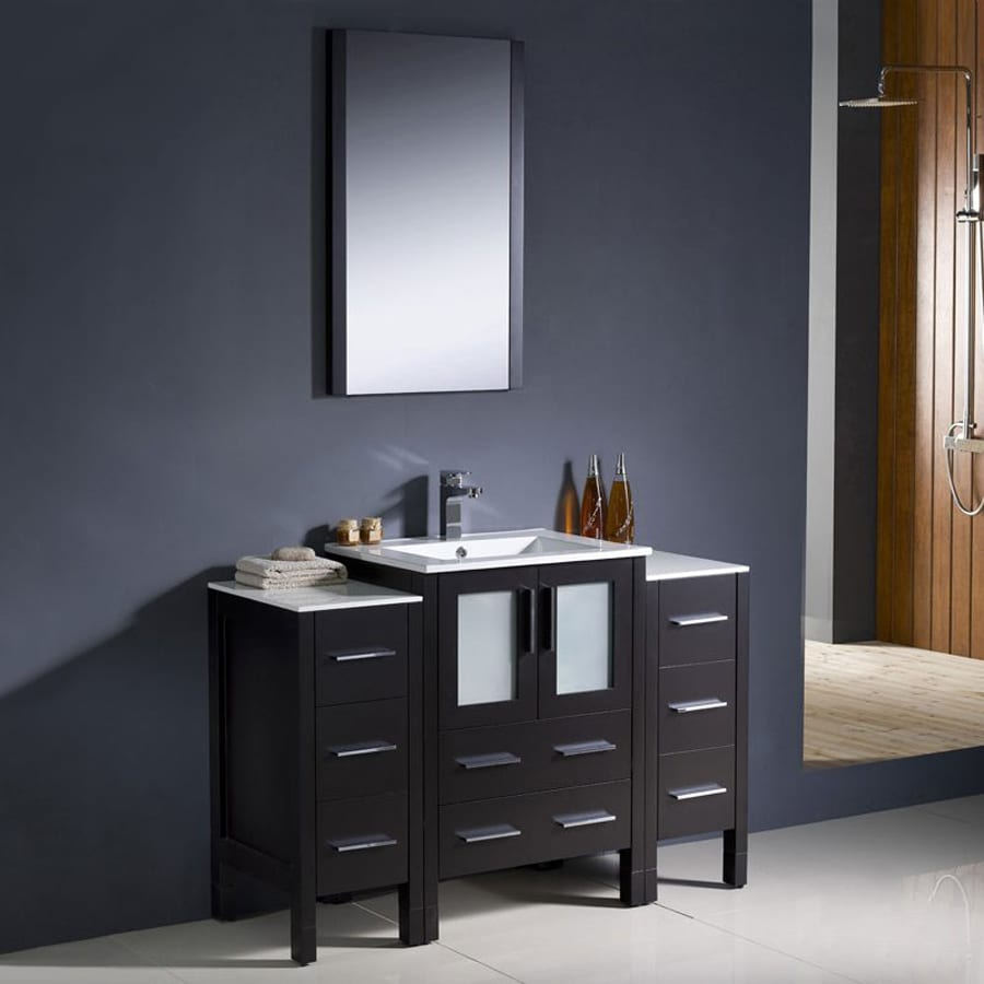 Fresca Bari Espresso (Common: 48-in x 18-in) Undermount Single Sink Bathroom Vanity with Ceramic Top (Faucet and Mirror Included) (Actual: 48-in x 18.13-in)