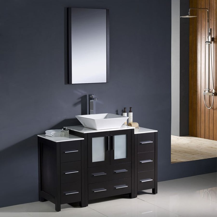 Fresca Bari Espresso 48-in Vessel Single Sink Bathroom Vanity with Top (Faucet and Mirror Included)