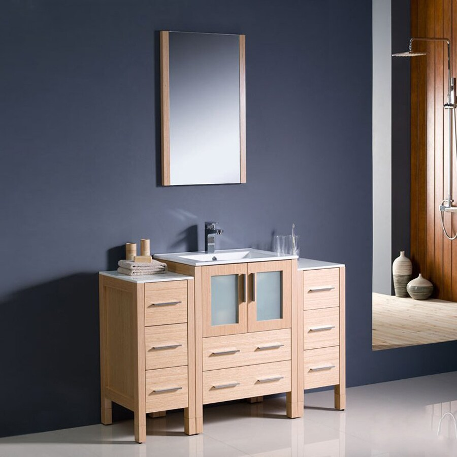 Shop Fresca Torino Light oak Vanity with White Ceramic Top (Common ...