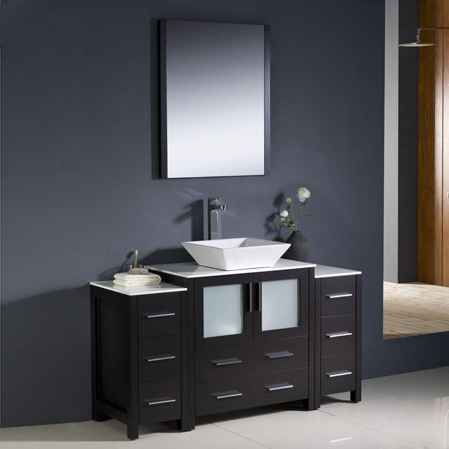 Fresca Bari Espresso Single Vessel Sink Bathroom Vanity with Ceramic Top (Common: 55-in x 18-in; Actual: 54-in x 18.13-in)