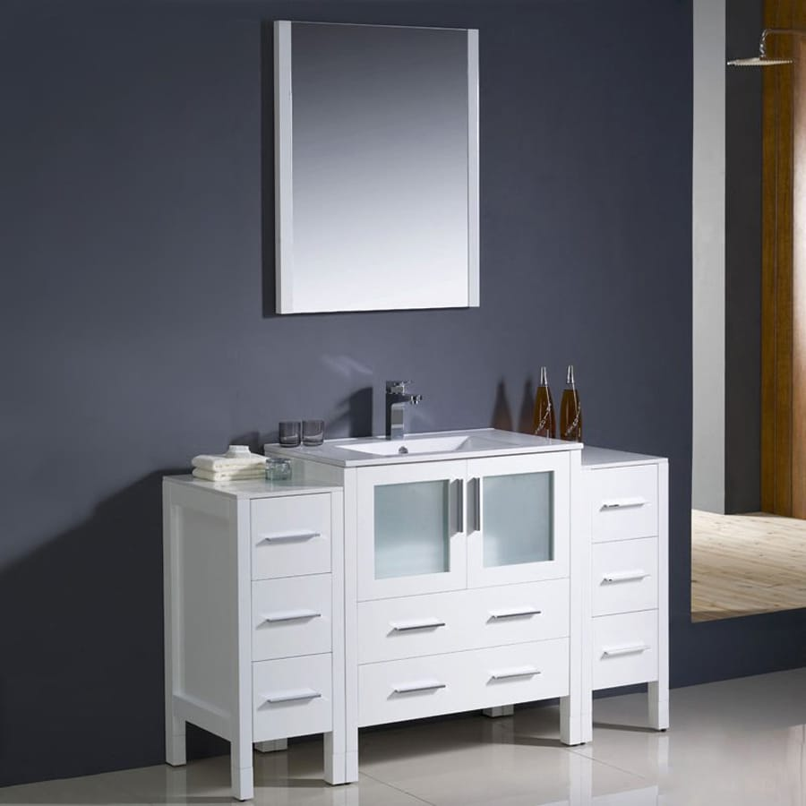 Fresca Torino White Single Sink Vanity With White Ceramic Top (Common: 55 In