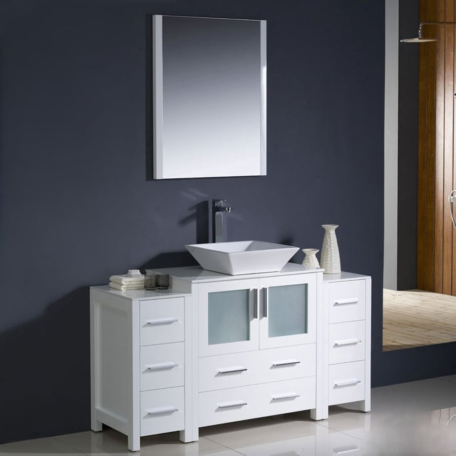 Shop Fresca Bari White Single Vessel Sink Bathroom Vanity With Ceramic Top Common 55 In X 18