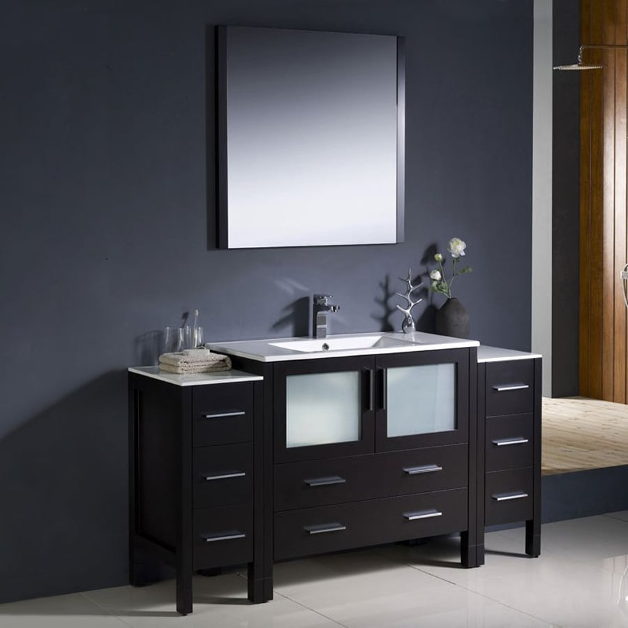 Fresca Bari Espresso (Common: 60-in x 18-in) Undermount Single Sink Bathroom Vanity with Ceramic Top (Faucet and Mirror Included) (Actual: 59.75-in x 18.13-in)