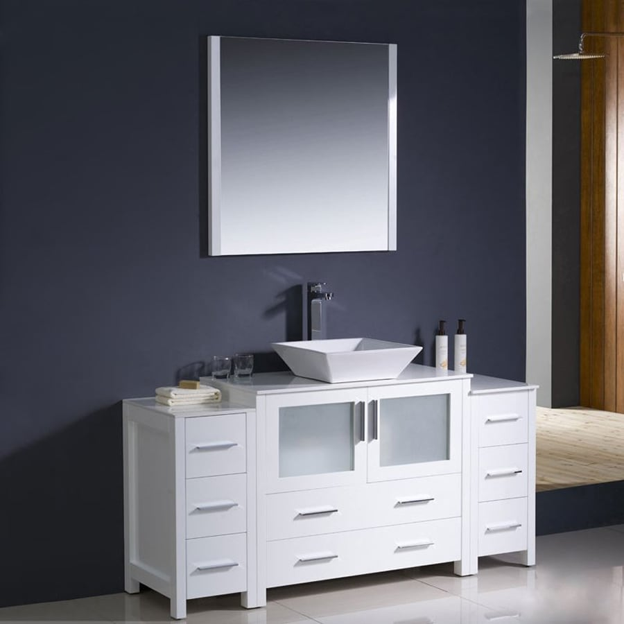 Fresca Bari White 59.75-in Vessel Single Sink Bathroom Vanity with Ceramic Top (Faucet and Mirror Included)